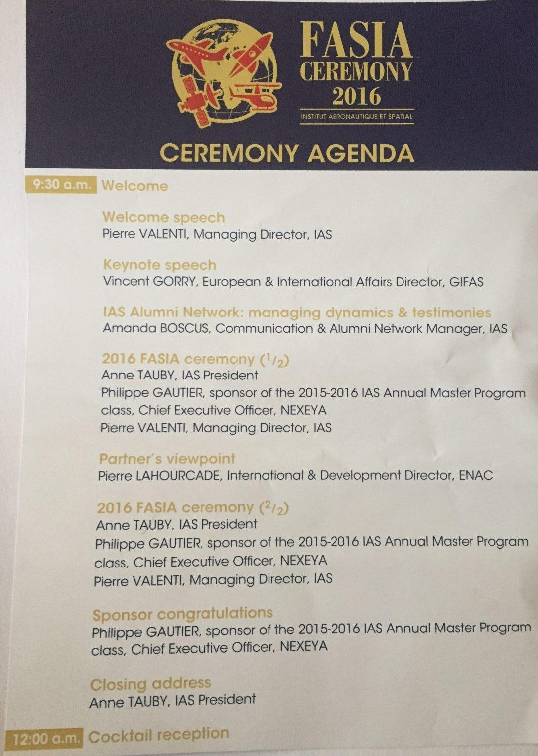 FASIA Ceremony Agenda
