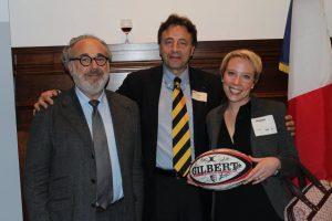 Nadège Fourny with TBS Dean François Bonvalet and Pierre Hurstel, President of TBS Alumni