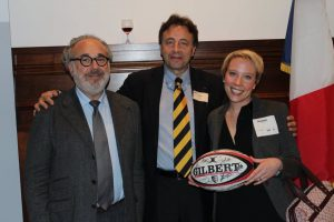 Nadège Fourny with TBS Dean François Bonvalet and Pierre Hurstel, President of TBS Alumni