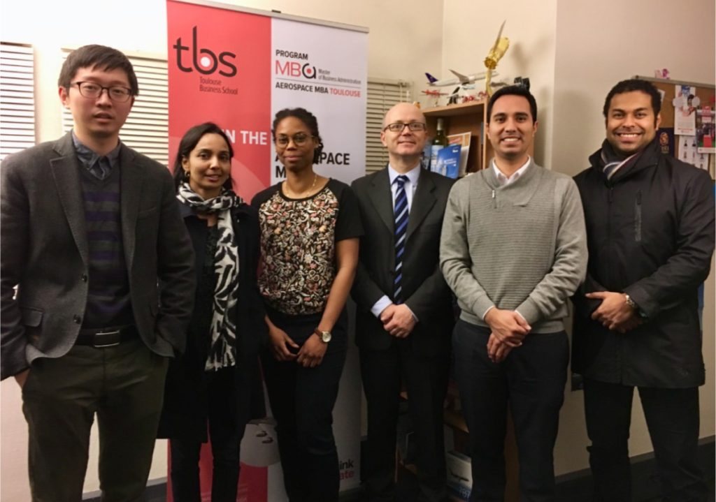 The TBS Aerospace MBA Team FT19 (left to right): Yuntain Gao, Karen Fernandes, Nadège Marc, Dr. Christophe Bénaroya (Director Aerospacce MBA), Roberto Iberico, Manek Parasram.