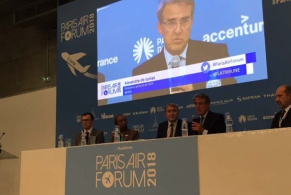 """Alexandre de Juniac (CEO IATA) addressing the audience during the round table """"How can Air Traffic that doubles every fifteen years be absorbed ?"""" with Angela Gittens, Director General of ACI World; Philippe Crebassa, VP ENAC and newly appointed Director Toulouse Blagnac Airport; Maurice Georges, Director of Air Navigation Services at DGAC, France."""