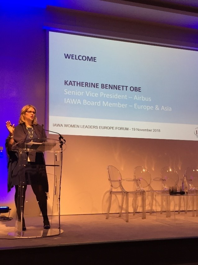 Katherine Bennett, SVP Airbus in the UK, OBE, and the IAWA Regional President Europe- Asia-Pacific.
